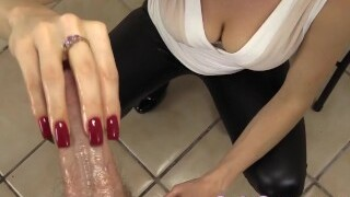 CFNM: handjob with my red nails