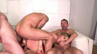 Double anal and deep throat in a Gangbang